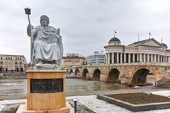 SKOPJE, A REPÚBLICA DA MACEDÔNIA - 24 DE FEVEREIRO DE 2018: Estátua do imperador bizantino I justiniano na cidade de Skopje Foto de Stock Royalty Free