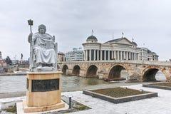 SKOPJE, A REPÚBLICA DA MACEDÔNIA - 24 DE FEVEREIRO DE 2018: Estátua do imperador bizantino I justiniano na cidade de Skopje Imagem de Stock Royalty Free
