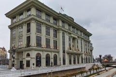 SKOPJE, A REPÚBLICA DA MACEDÔNIA - 24 DE FEVEREIRO DE 2018: Ministério dos Negócios Estrangeiros no centro da cidade de Skopje Fotografia de Stock Royalty Free