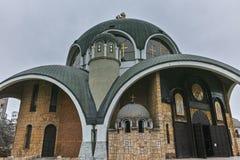 SKOPJE, A REPÚBLICA DA MACEDÔNIA - 24 DE FEVEREIRO DE 2018: St Clement da igreja de Ohrid na cidade de Skopje Fotografia de Stock Royalty Free