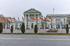 SKOPJE, REPUBBLICA MACEDONE - 24 FEBBRAIO 2018: Costruzione del governo della Repubblica Macedone in città di Skopje Fotografia Stock