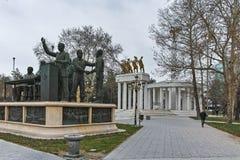 SKOPJE, REPUBBLICA MACEDONE - 24 FEBBRAIO 2018: Monumento nel centro urbano di Skopje Fotografia Stock Libera da Diritti