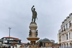 SKOPJE, REPUBBLICA MACEDONE - 24 FEBBRAIO 2018: Philip II del monumento di Macedon a Skopje Fotografie Stock Libere da Diritti
