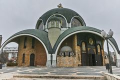 SKOPJE, REPUBBLICA MACEDONE - 24 FEBBRAIO 2018: St Clement della chiesa di Ocrida in città di Skopje Immagine Stock Libera da Diritti