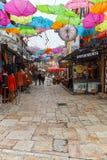 SKOPJE, REPUBBLICA MACEDONE - 24 FEBBRAIO 2018: Vecchio mercato del vecchio bazar di città di Skopje Immagine Stock Libera da Diritti