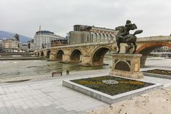 SKOPJE, REPUBLIC OF MACEDONIA - FEBRUARY 24, 2018:  Skopje City Center, Old Stone Bridge and Vardar River. Republic of Macedonia Stock Photo