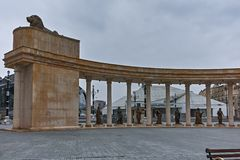 SKOPJE, REPUBLIC OF MACEDONIA - FEBRUARY 24, 2018: colonnade near Vardar Rive in  the center of City of Skopje. Republic of Macedonia Royalty Free Stock Photography