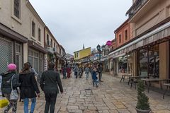 Old Bazaar Old Market in city of Skopje, Republic of Macedonia. SKOPJE, REPUBLIC OF MACEDONIA - FEBRUARY 24, 2018: Old Bazaar Old Market in city of Skopje royalty free stock photography