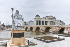 SKOPJE, REPUBLIC OF MACEDONIA - FEBRUARY 24, 2018:   Statue of the Byzantine Emperor Justinian I in city of Skopje Royalty Free Stock Image