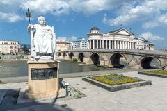 Justinian I Monument and Alexander the Great square in Skopje, Republic of Macedonia Stock Photos