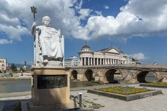 Justinian I Monument and Alexander the Great square in Skopje, Republic of Macedonia Stock Images