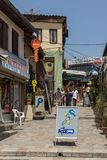 Typical street in old town of city of Skopje, Republic of Macedonia Stock Photo