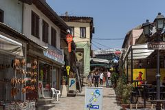 Typical street in old town of city of Skopje, Republic of Macedonia Royalty Free Stock Photos