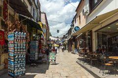 Typical street in old town of city of Skopje, Republic of Macedonia Royalty Free Stock Photography