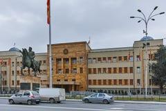 SKOPJE, REPUBLIEK VAN MACEDONIË - 24 FEBRUARI, 2018: De bouw van het Parlement in stad van Skopje Stock Afbeelding