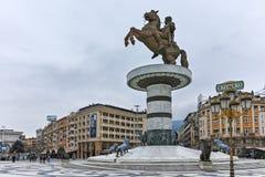 SKOPJE, REPUBLIEK VAN MACEDONIË - 24 FEBRUARI, 2018: Het Centrum van de Skopjestad en Alexander het Grote Monument Royalty-vrije Stock Foto