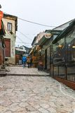 SKOPJE, REPUBLIEK VAN MACEDONIË - 24 FEBRUARI, 2018: Oude Bazaar Oude Markt in stad van Skopje Stock Afbeelding