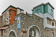 SKOPJE, REPUBLIEK VAN MACEDONIË - 13 MEI 2017: Herdenkingshuismoeder Teresa in stad van Skopje Royalty-vrije Stock Foto