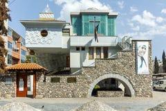 SKOPJE, REPUBLIEK VAN MACEDONIË - 13 MEI 2017: Herdenkingshuismoeder Teresa in stad van Skopje Stock Foto's