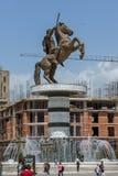 SKOPJE, REPUBLIEK VAN MACEDONIË - 13 MEI 2017: Het Centrum van de Skopjestad en Alexander het Grote Monument Royalty-vrije Stock Fotografie