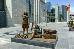 SKOPJE, REPUBLIEK VAN MACEDONIË - 13 MEI 2017: Holocaustmuseum in stad van Skopje Stock Afbeelding