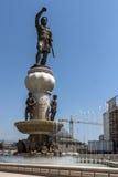 SKOPJE, REPUBLIEK VAN MACEDONIË - 13 MEI 2017: Philip II van Macedon-Monument in Skopje Royalty-vrije Stock Foto's