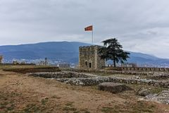 SKOPJE, republika MACEDONIA, LUTY - 24, 2018: Skopje Kale forteczny forteca w Starym miasteczku Obraz Royalty Free