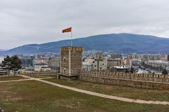 SKOPJE, republika MACEDONIA, LUTY - 24, 2018: Skopje Kale forteczny forteca w Starym miasteczku Obraz Stock