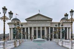 SKOPJE, republika MACEDONIA, LUTY - 24, 2018: Most cywilizacje i Archeologiczny muzeum Obrazy Royalty Free