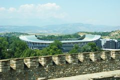 Skopje soccer / football stadium view from old fortress. Behind brick wall Royalty Free Stock Images