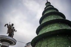 Skopje-Weihnachtsdekorationen lizenzfreie stockfotografie