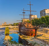 Skopje wooden sailboat Royalty Free Stock Photography