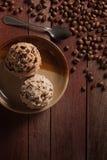 Skopor av glass, choklad och kaffe Arkivbild
