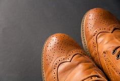 Skor den brunt oxford klassiskt läder vaxade fint stilfulla eleganta mannen closeupen Royaltyfri Foto