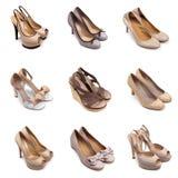 skor för 1 beige bruna kvinnlig Royaltyfria Bilder