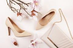 Skor för höga häl för nakenstudie kulöra och magnoliablommor arkivfoton