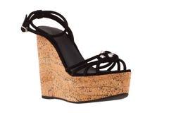 Skor Skor för kvinna` s på en vit bakgrund högvärdigt skodon Italienare brännmärkte skor Fotografering för Bildbyråer