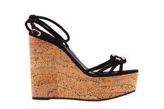 Skor Skor för kvinna` s på en vit bakgrund högvärdigt skodon Italienare brännmärkte skor Arkivbilder