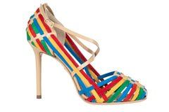 Skor Skor för kvinna` s på en vit bakgrund högvärdigt skodon Italienare brännmärkte skor Arkivbild