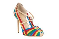 Skor Skor för kvinna` s på en vit bakgrund högvärdigt skodon Italienare brännmärkte skor Royaltyfri Foto