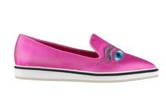 Skor för kvinna` s på en vit bakgrund högvärdigt skodon Italienare brännmärkte skor Arkivfoto