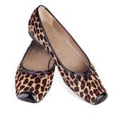Skor för leopardmodelägenhet Royaltyfri Bild
