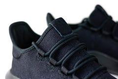 Skor för sportar för svart för man` s För sportar Isolerat på den vita backgrouen Royaltyfria Foton
