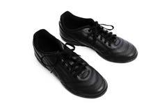 Skor för svart man` som s isoleras på en vit bakgrund Arkivfoton