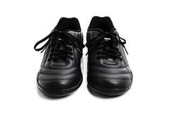 Skor för svart man` som s isoleras på en vit bakgrund Arkivbild