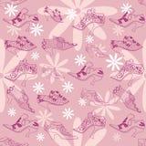 Skor för tappningkvinna` s på en rosa bakgrund Royaltyfri Bild