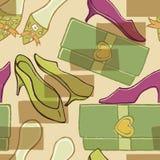 skor för tillbehörmodehandväskor Arkivfoto
