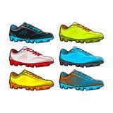 Skor fotboll med lämnad rätt för färguppsättning vektorn royaltyfri illustrationer