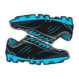 Skor lämnad rätt för fotboll vektorn stock illustrationer