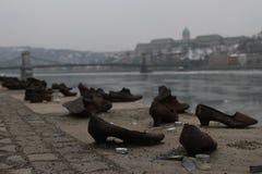 Skor på invallningen av den DonauCipÅ `en K en Duna-parton arkivfoto